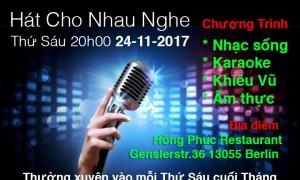 """THƯ MỜI: Tham gia chương trình """"Hát cho nhau nghe"""" lần thứ VI tại quán Hồng Phúc (24.11.2017)"""