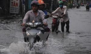 TP HỒ CHÍ MINH: Triều cường lên cao, đường phố thành ''sông''