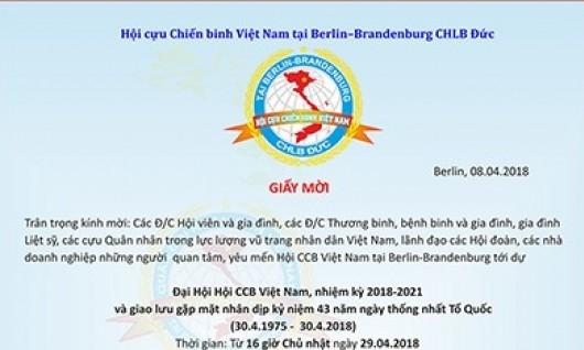 GIẤY MỜI: DỰ ĐẠI HỘI HỘI CCB VN BERLIN-BRANDENBURG NHIỆM KỲ 2018-2021