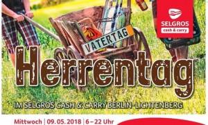 THÔNG BÁO: SCHOPPING TRONG NGÀY ´HERRENTAG´ SELGROS LICHTENBERG (6h – 22h - 9.5.2018)