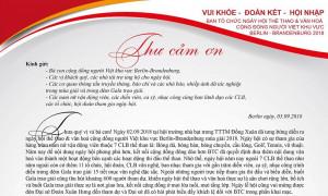 THƯ CÁM ƠN CỦA BTC LỄ HỘI THỂ THAO & VĂN HOÁ BERLIN-BRANDENBURG 2018