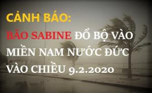 CẢNH BÁO:  BÃO SABINE ĐỔ BỘ VÀO MIỀN NAM NƯỚC ĐỨC VÀO CHIỀU 9.2.2020