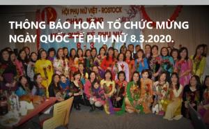 HỘI PHỤ NỮ VIỆT ROSTOCK THÔNG BÁO HOÃN TỔ CHỨC LIÊN HOAN MỪNG NGÀY QUỐC TẾ PHỤ NỮ 8.3.2020.