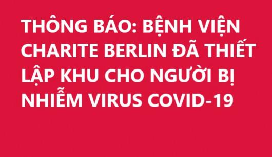 THÔNG BÁO: BỆNH VIỆN CHARITE BERLIN ĐÃ THIẾT LẬP KHU CHO NGƯỜI BỊ NHIỄM VIRUS COVID-19