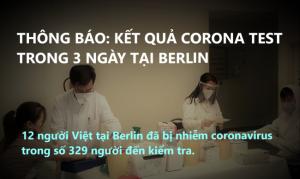 THÔNG BÁO: KẾT QUẢ CORONA TEST TRONG 3 NGÀY TẠI BERLIN