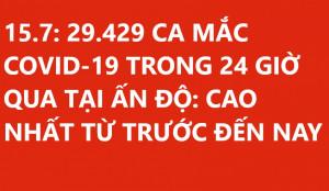 29.429 CA MẮC COVID-19 TRONG 24 GIỜ QUA TẠI ẤN ĐỘ: CAO NHẤT TỪ TRƯỚC ĐẾN NAY