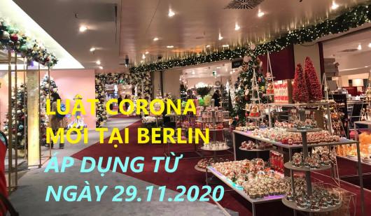LUẬT PHÒNG CHỐNG CORONA MỚI TẠI BERLIN: ÁP DỤNG TỪ NGÀY 29.11.2020