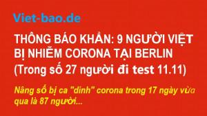 THÔNG BÁO KHẨN: 9 NGƯỜI VIỆT BỊ NHIỄM CORONA TẠI BERLIN (Trong số 27 người đi test 11.11)